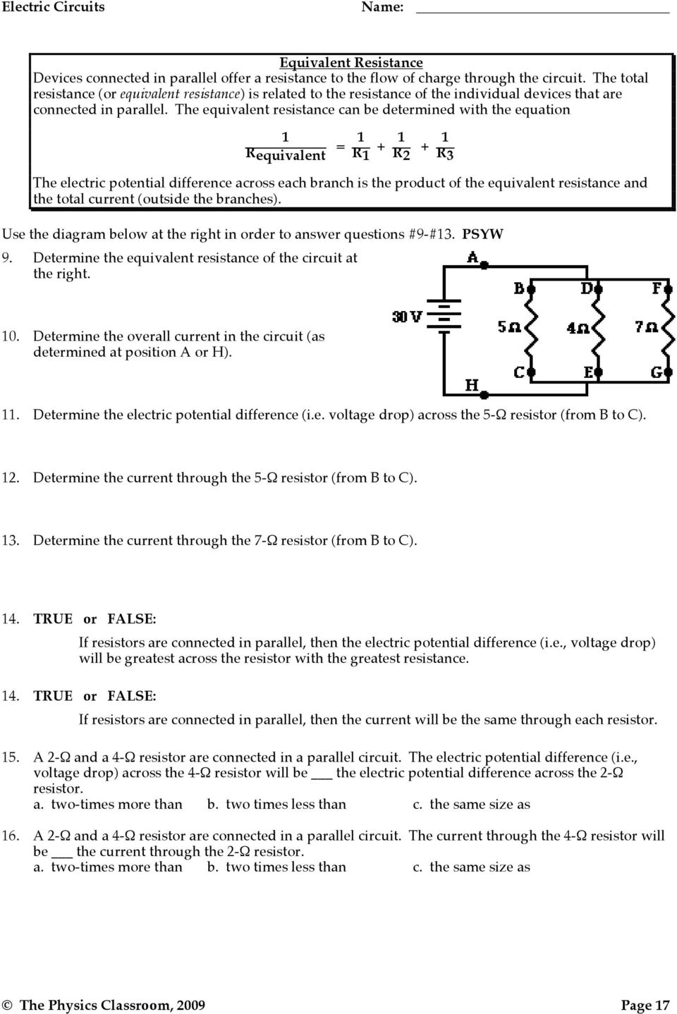 Electric Potential Difference Pdf Resistors What Is The Equivalent Resistance Of Circuit Below Can Be Determined With Equation 1 Requivalent R1
