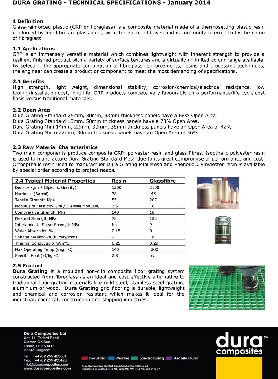 DURA GRATING - TECHNICAL SPECIFICATIONS - January PDF