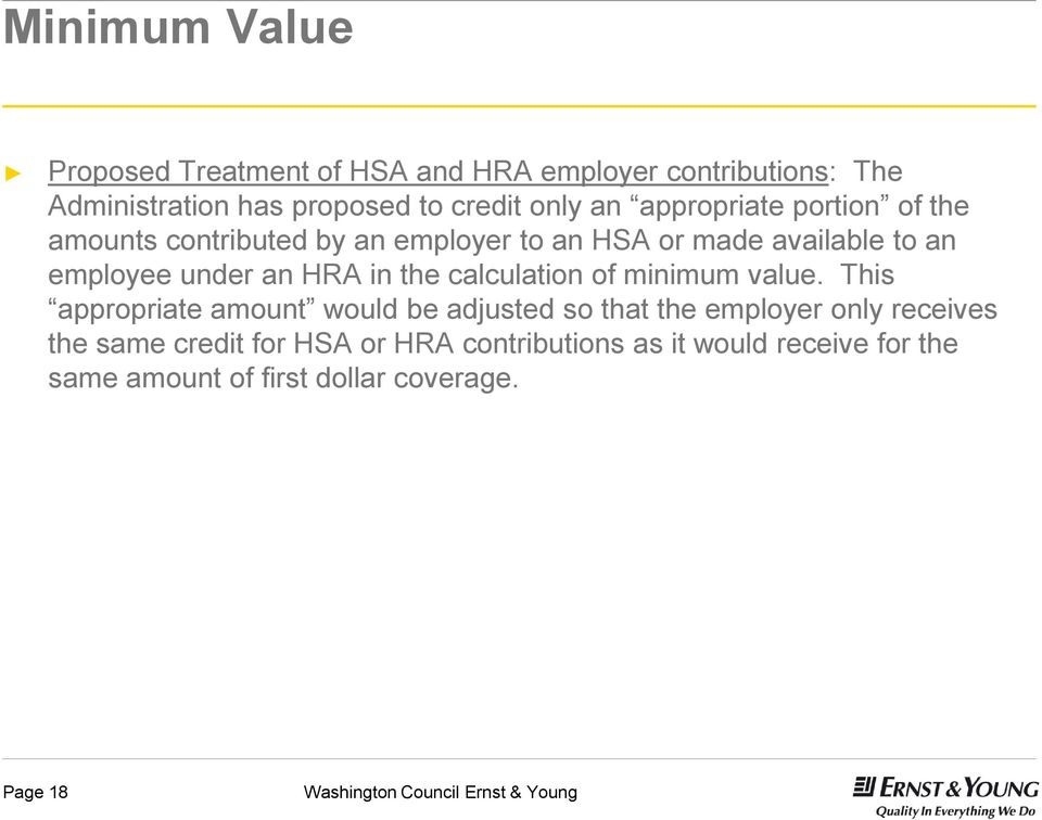 under an HRA in the calculation of minimum value.