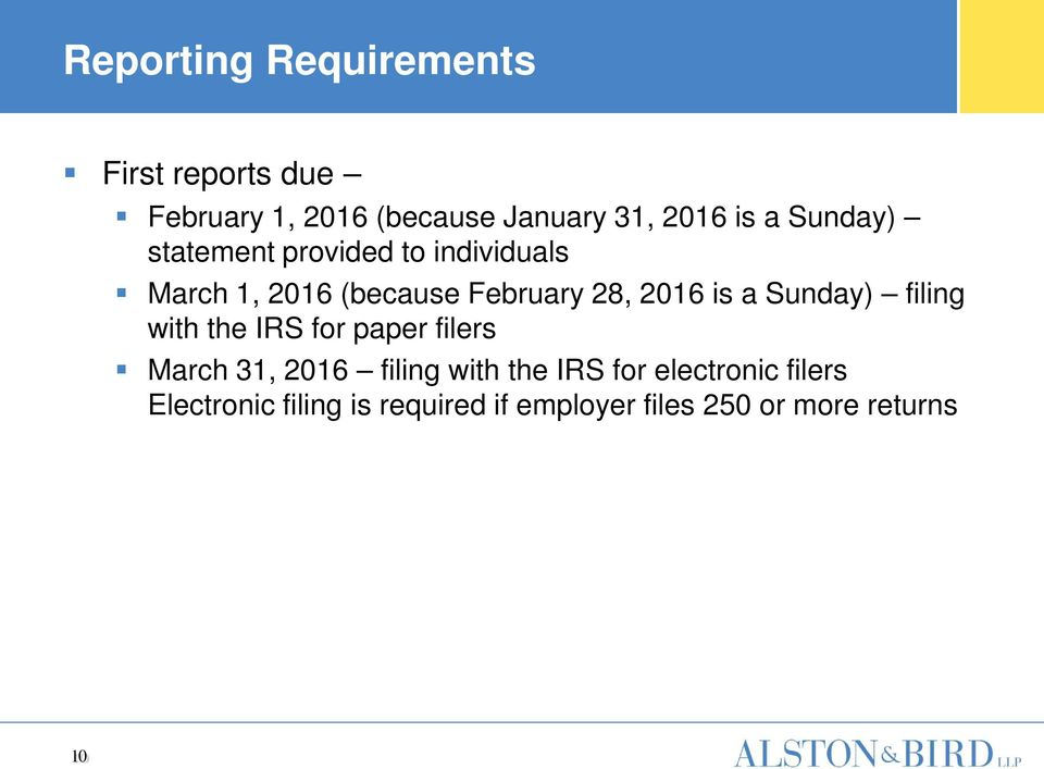 a Sunday) filing with the IRS for paper filers March 31, 2016 filing with the IRS for