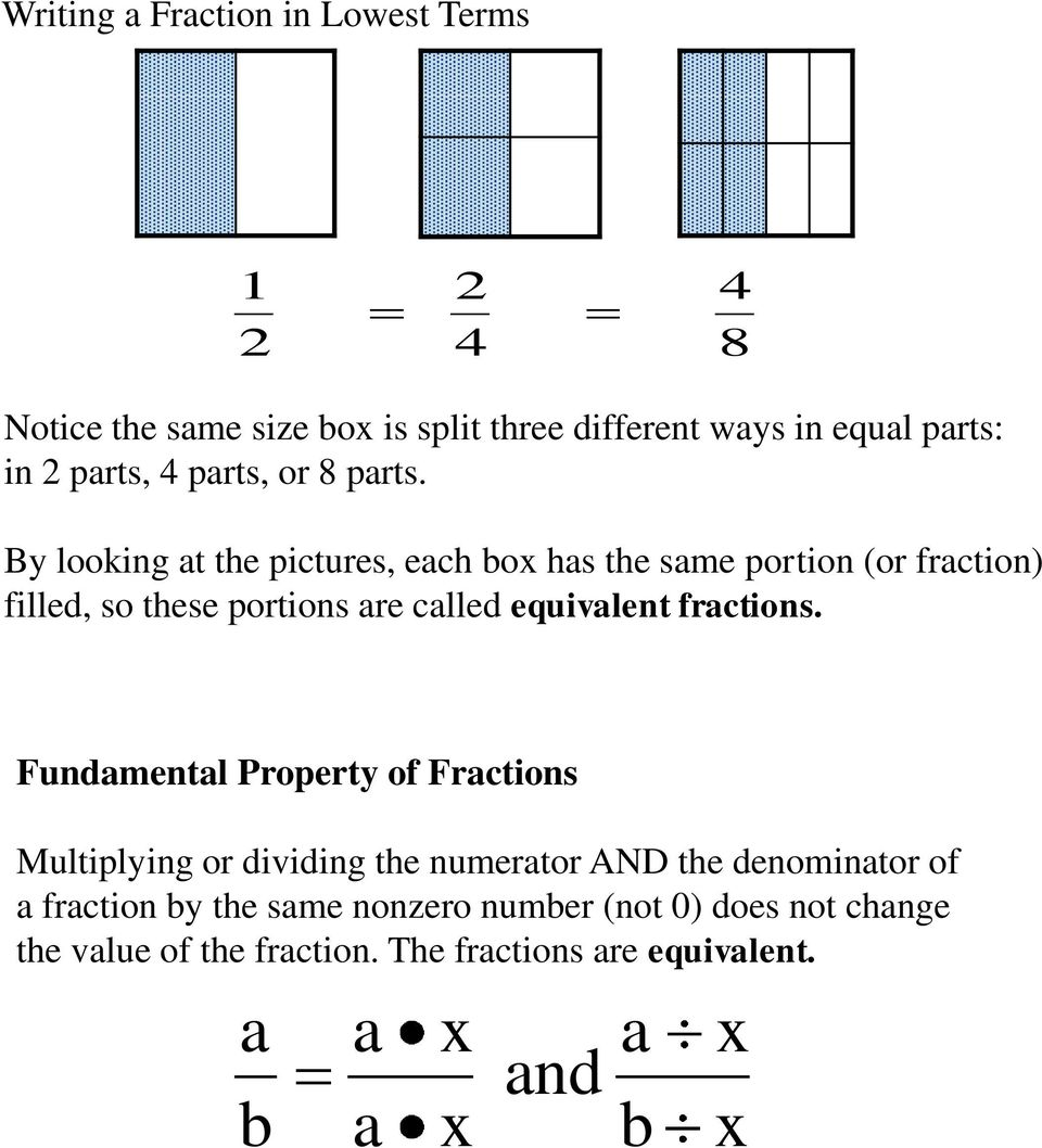 By looking at the pictures, each box has the same portion (or fraction) filled, so these portions are called equivalent