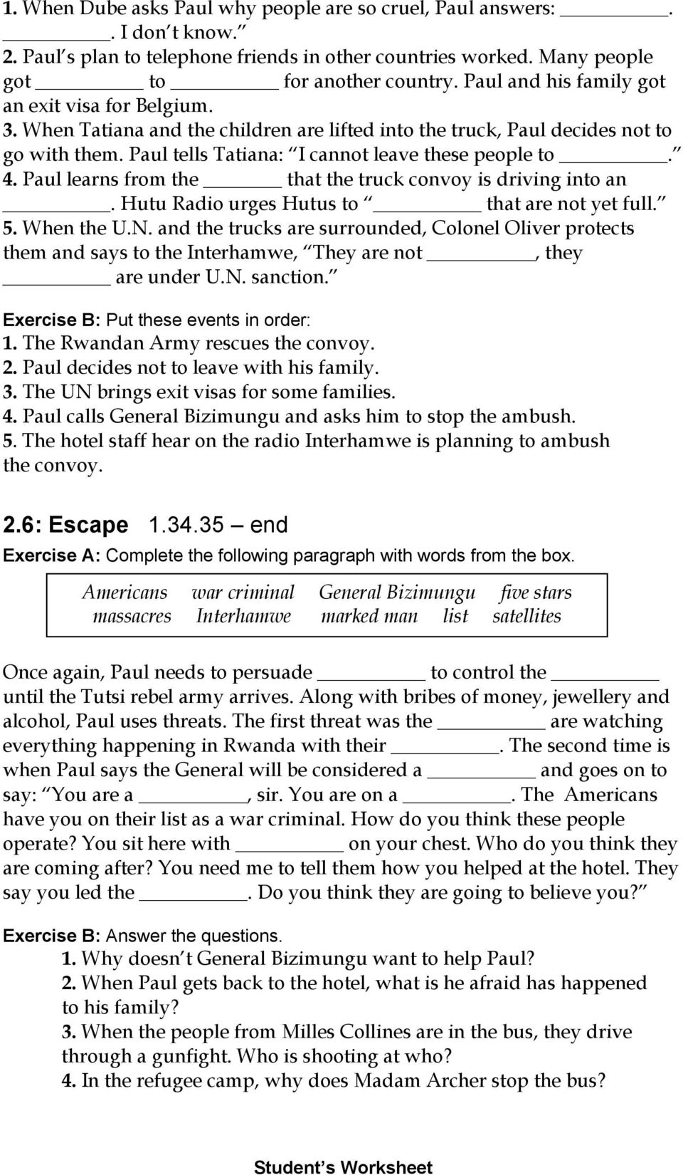 Worksheets Hotel Rwanda Worksheet comprehension and discussion activities for the movie hotel rwanda pdf paul learns from that truck convoy is driving into an hutu radio urges