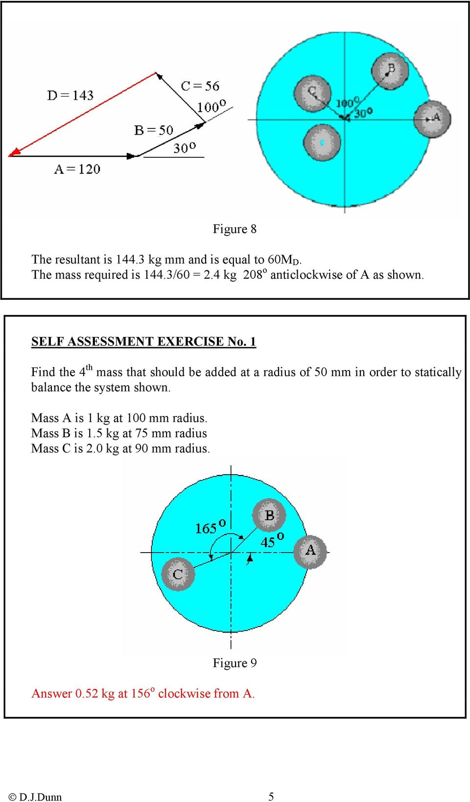 1 Find the 4 th mass that should be added at a radius of 50 mm in order to statically balance the system