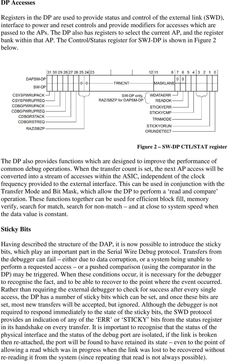 Figure 2 SW-DP CTL/STAT register The DP also provides functions which are designed to improve the performance of common debug operations.