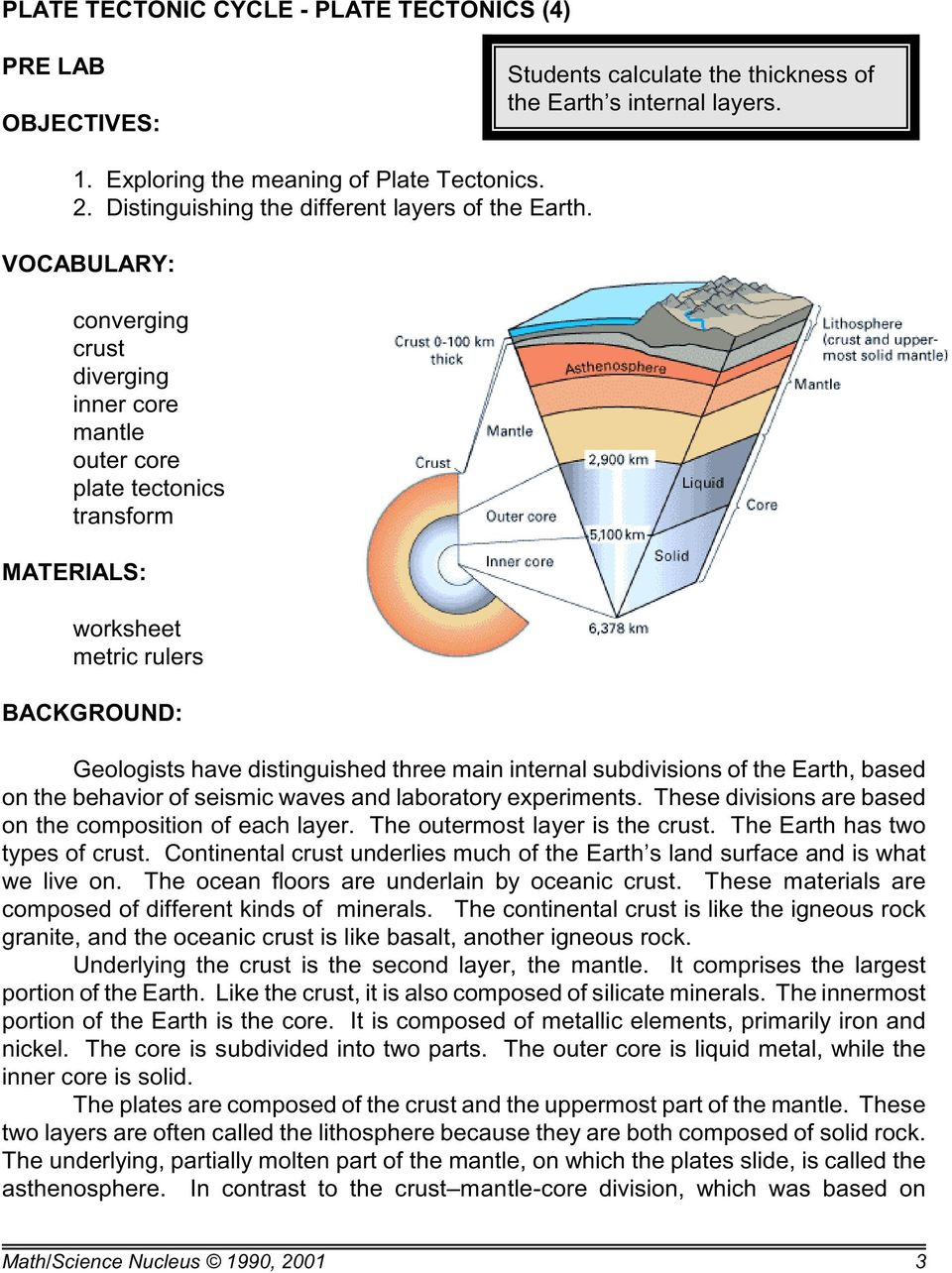 VOCABULARY: converging crust diverging inner core mantle outer core plate tectonics transform MATERIALS: worksheet metric rulers BACKGROUND: Geologists have distinguished three main internal