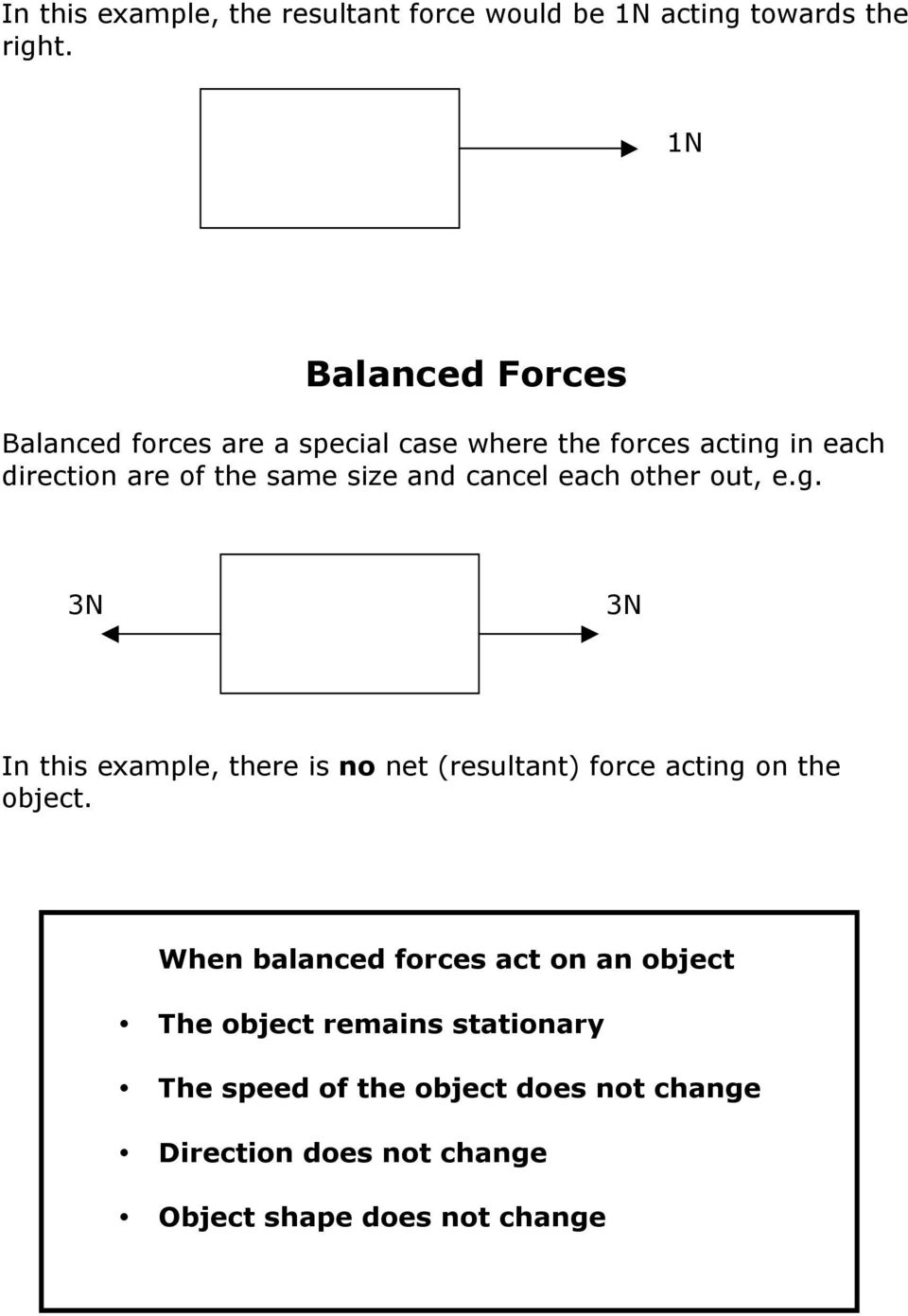 and cancel each other out, e.g. 3N 3N In this example, there is no net (resultant) force acting on the object.
