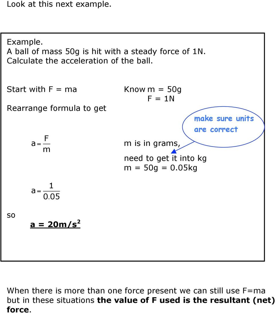 Start with F = ma Rearrange formula to get a = F m Know m = 50g F = 1N m is in grams, make sure units are