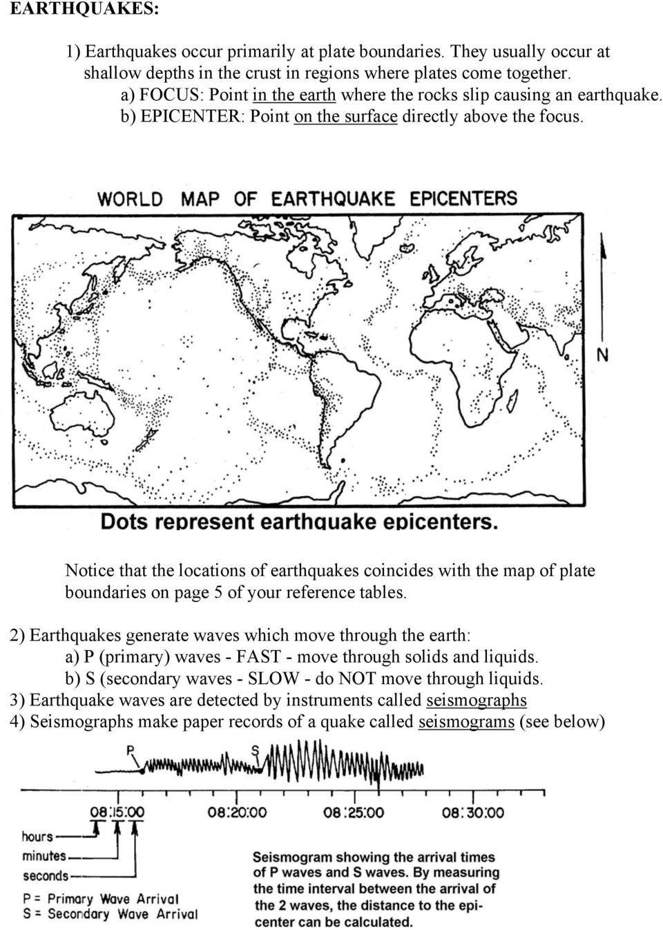 Notice that the locations of earthquakes coincides with the map of plate boundaries on page 5 of your reference tables.