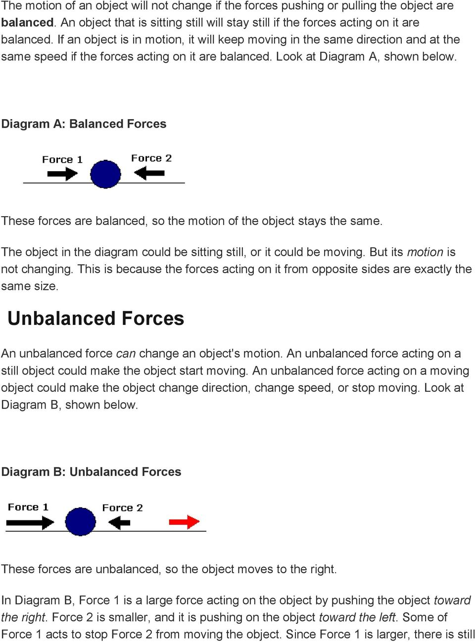 Diagram A: Balanced Forces These forces are balanced, so the motion of the object stays the same. The object in the diagram could be sitting still, or it could be moving.