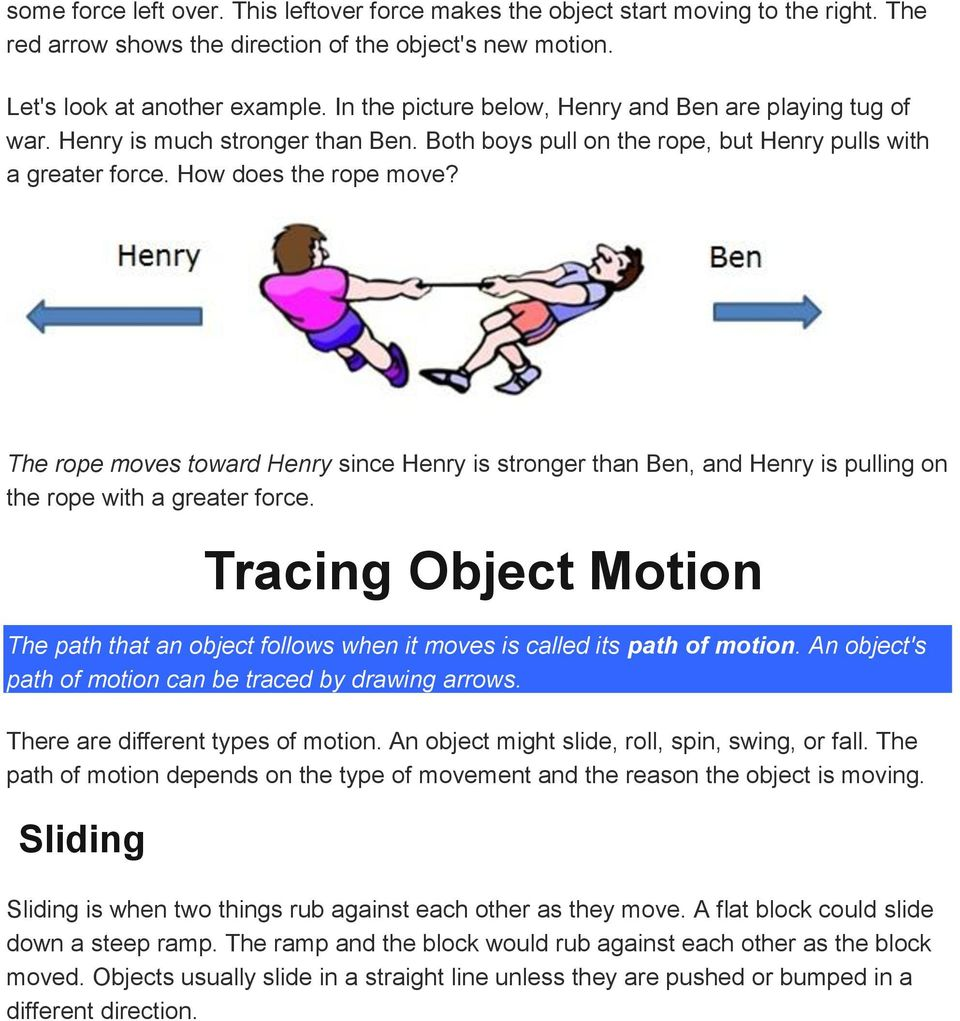 The rope moves toward Henry since Henry is stronger than Ben, and Henry is pulling on the rope with a greater force.