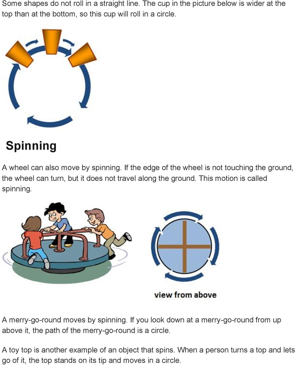 If the edge of the wheel is not touching the ground, the wheel can turn, but it does not travel along the ground. This motion is called spinning.