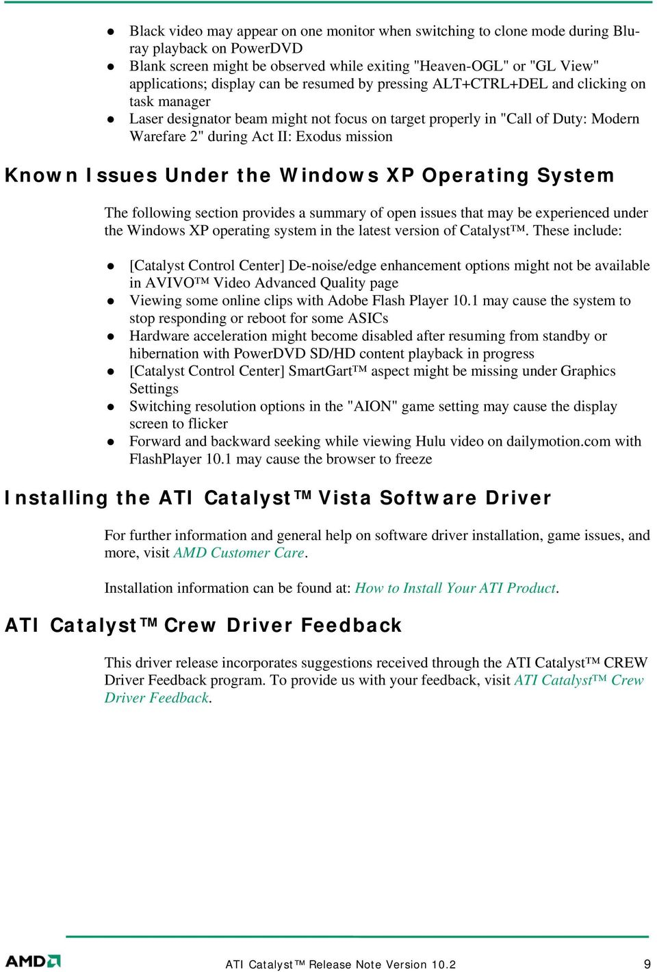 ATI Catalyst Software Suite Version 10 2 Release Notes - PDF