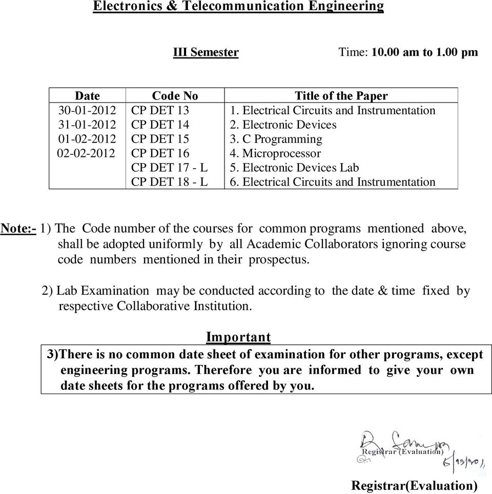 Electrical Circuits and Instrumentation Note:- 1) The Code number of the courses for common programs mentioned above, shall be adopted uniformly by all Academic Collaborators ignoring course code
