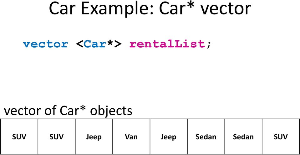 vector of Car* objects SUV