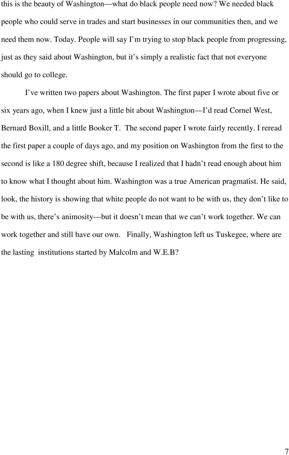I ve written two papers about Washington.