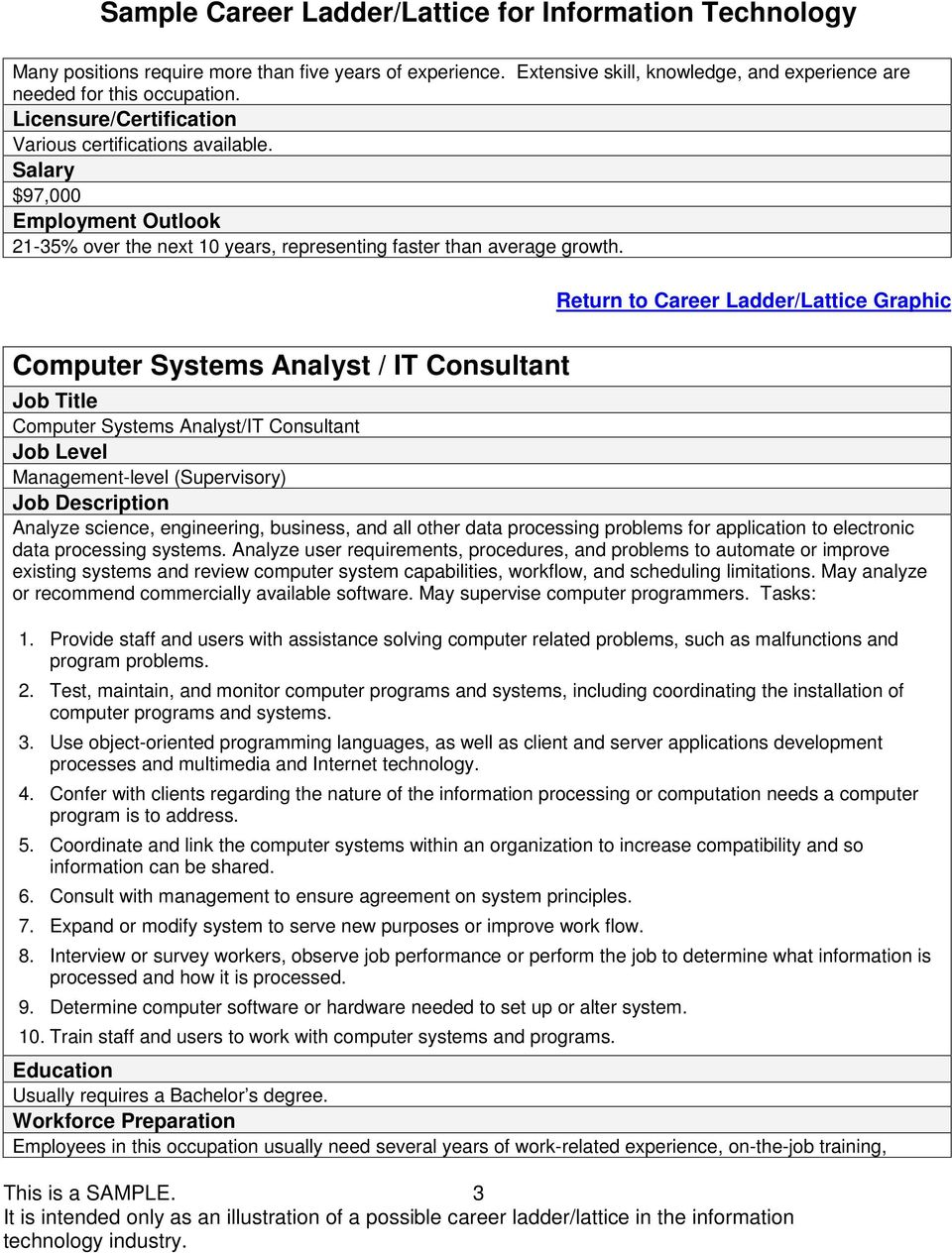 Computer Systems Analyst / IT Consultant Job Title Computer Systems Analyst/IT Consultant Job Level Management-level (Supervisory) Job Description Analyze science, engineering, business, and all
