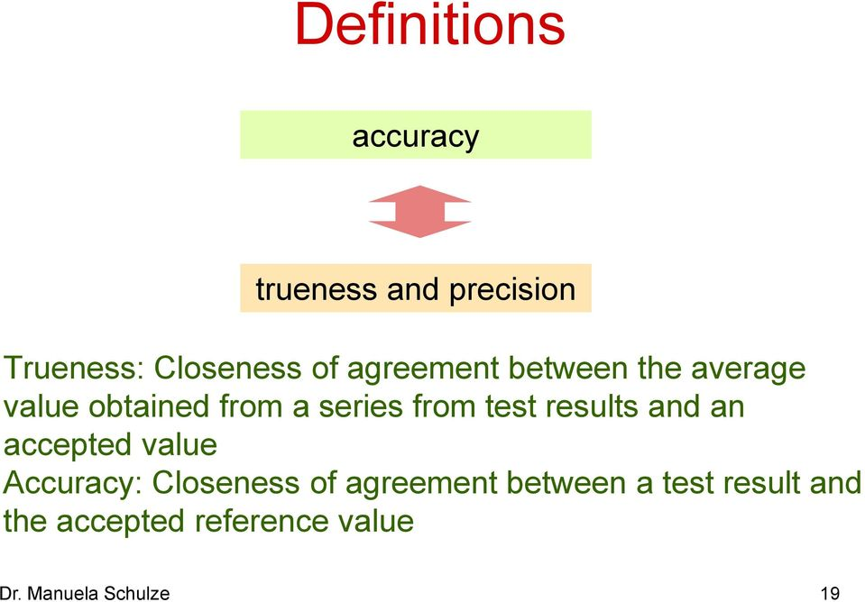 results and an accepted value Accuracy: Closeness of agreement