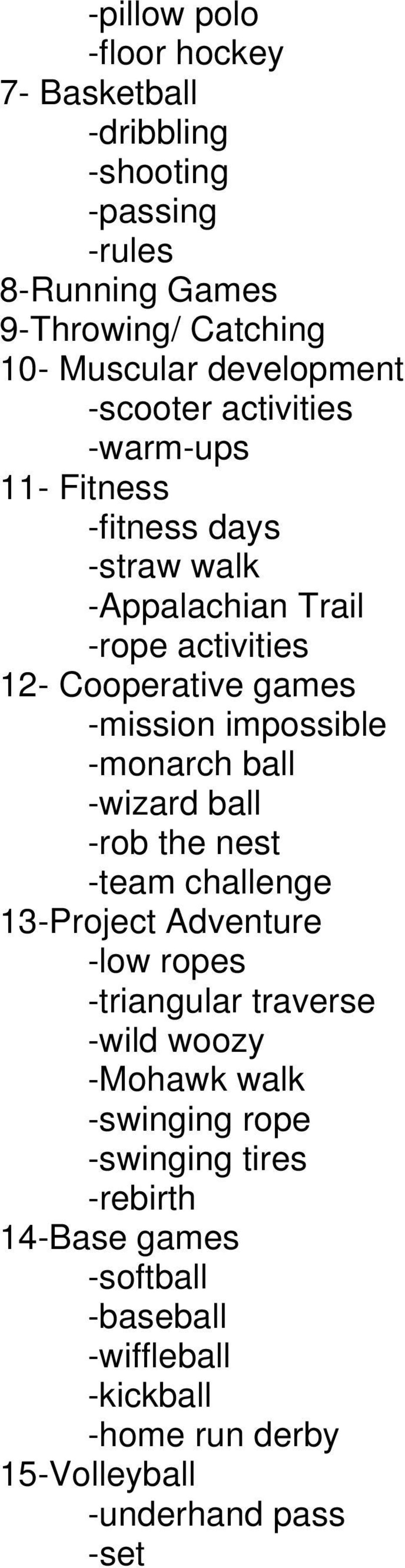 impossible -monarch ball -wizard ball -rob the nest -team challenge 13-Project Adventure -low ropes -triangular traverse -wild woozy -Mohawk