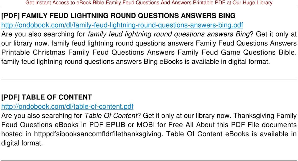 family feud lightning round questions answers Family Feud Questions Answers Printable Christmas Family Feud Questions Answers Family Feud Game Questions Bible.