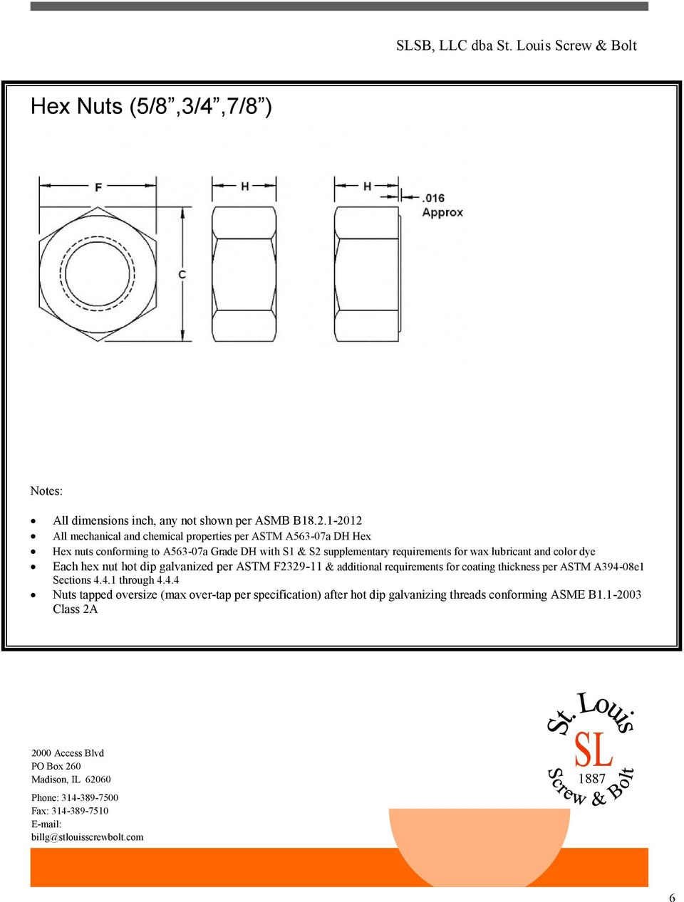 supplementary requirements for wax lubricant and color dye Each hex nut hot dip galvanized per ASTM F2329-11 & additional