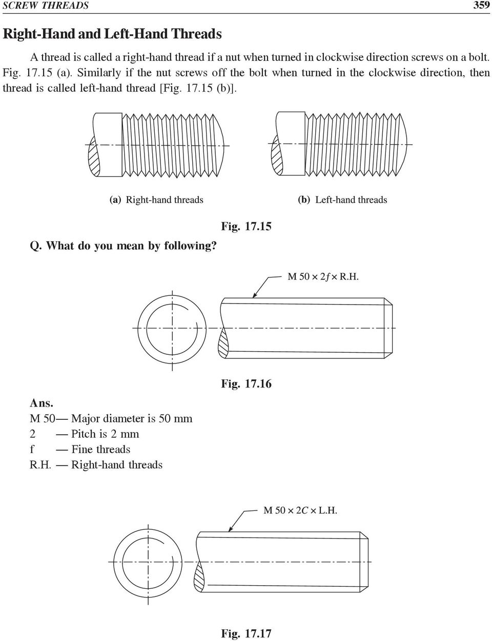 Similarly if the nut screws off the bolt when turned in the clockwise direction, then thread is called left-hand