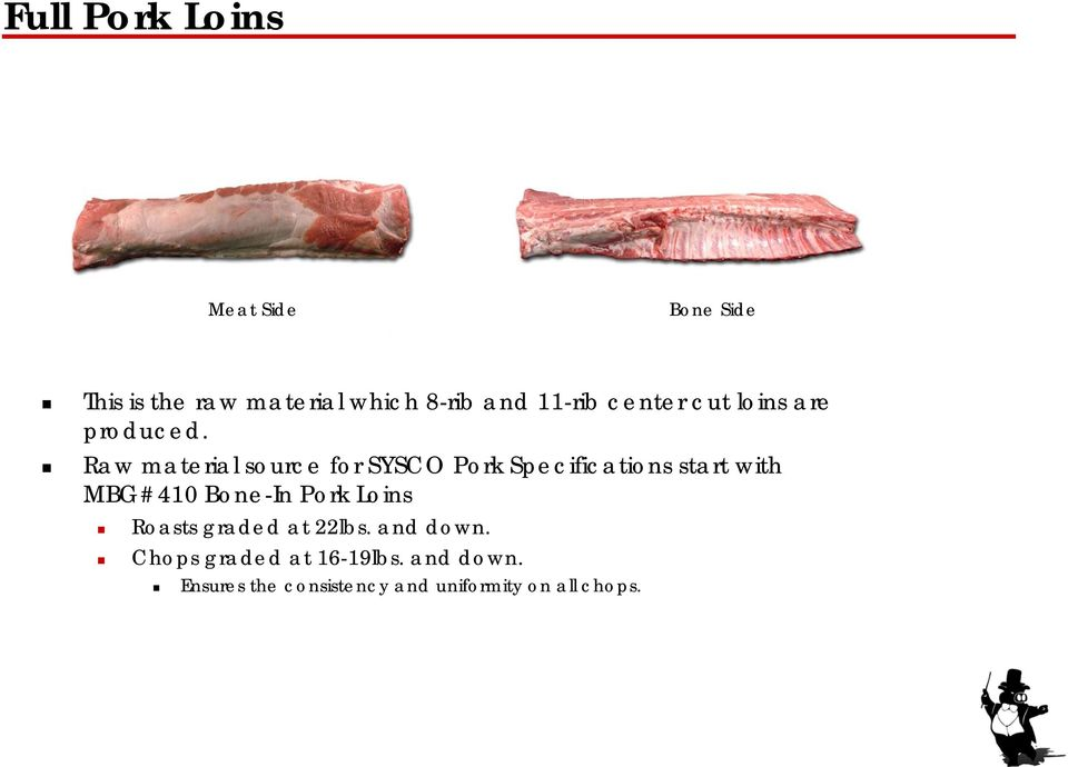Raw material source for SYSCO Pork Specifications start with MBG#410 Bone-In Pork