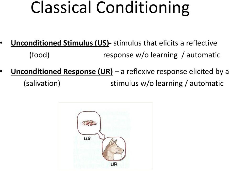 learning / automatic Unconditioned Response (UR) a