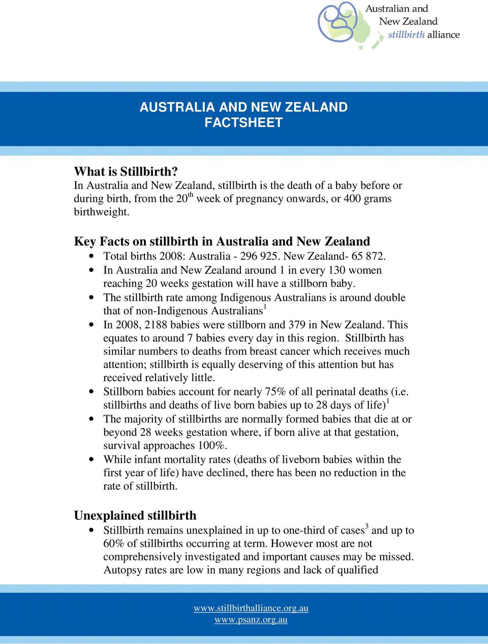 Key Facts on stillbirth in Australia and New Zealand Total births 2008: Australia - 296 925. New Zealand- 65 872.