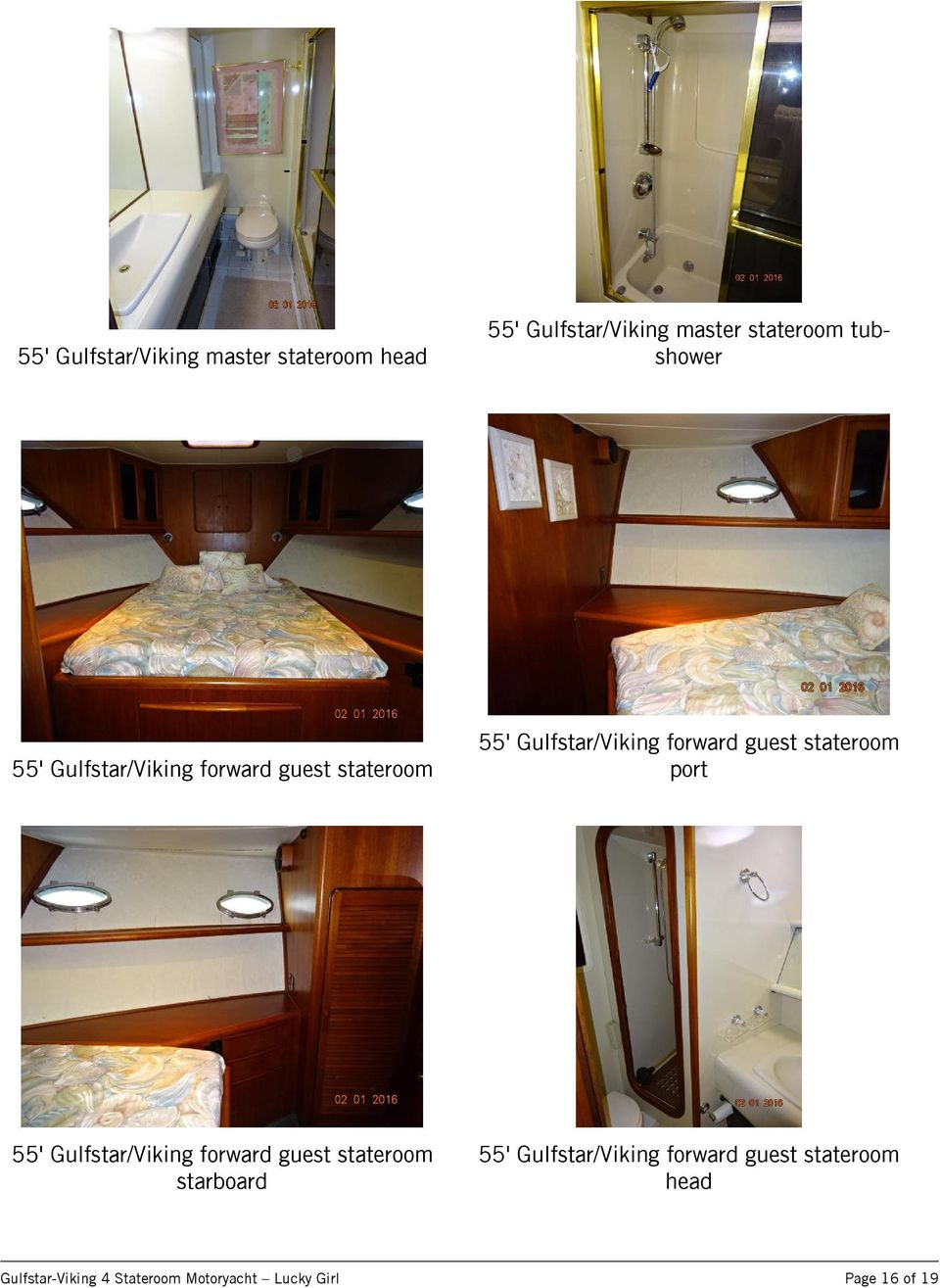 guest stateroom port 55' Gulfstar/Viking forward guest stateroom starboard 55'