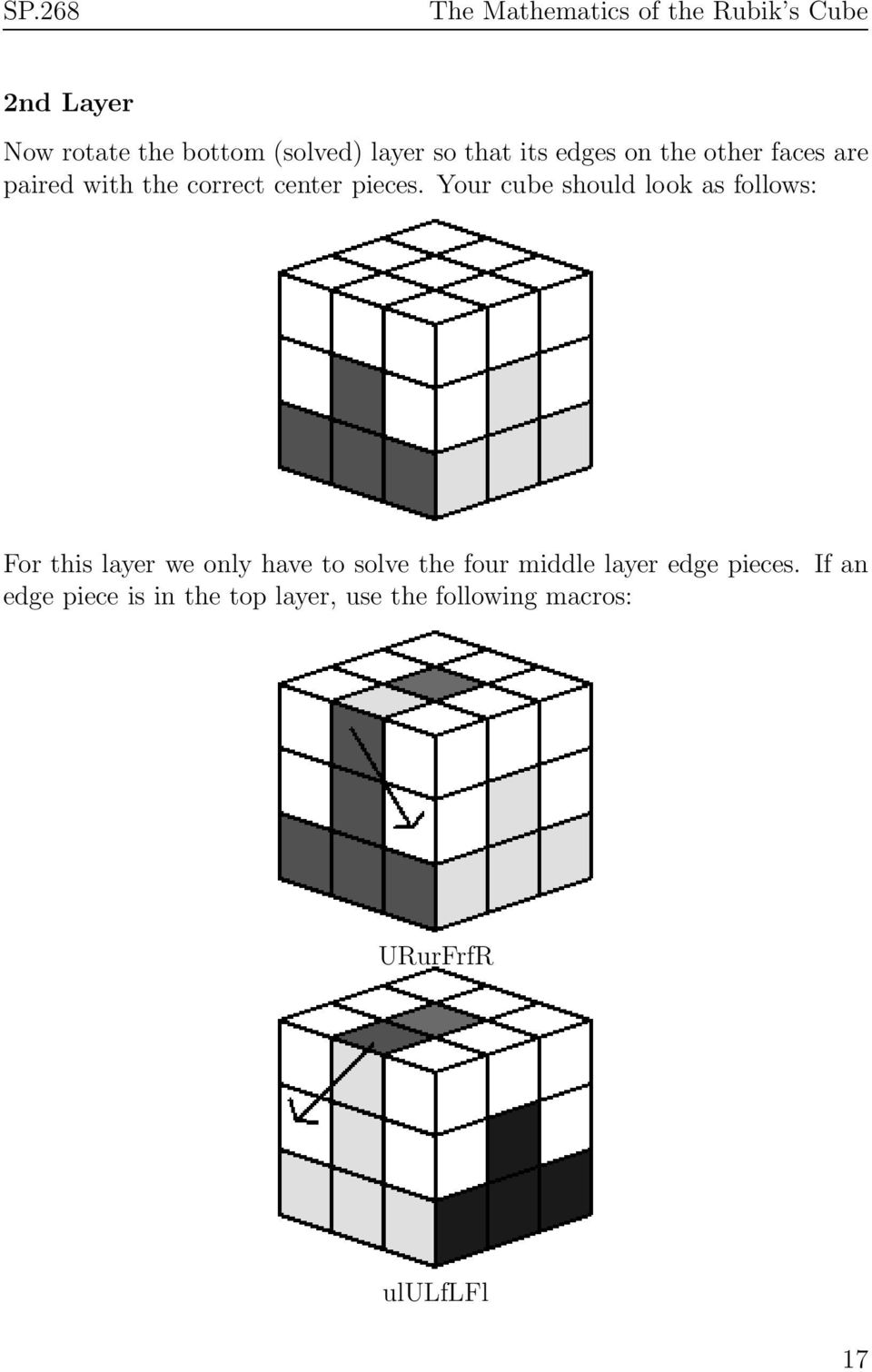 Your cube should look as follows: For this layer we only have to solve the four
