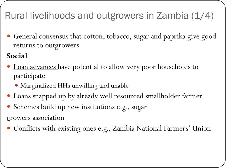 Marginalized HHs unwilling and unable Loans snapped up by already well resourced smallholder farmer Schemes