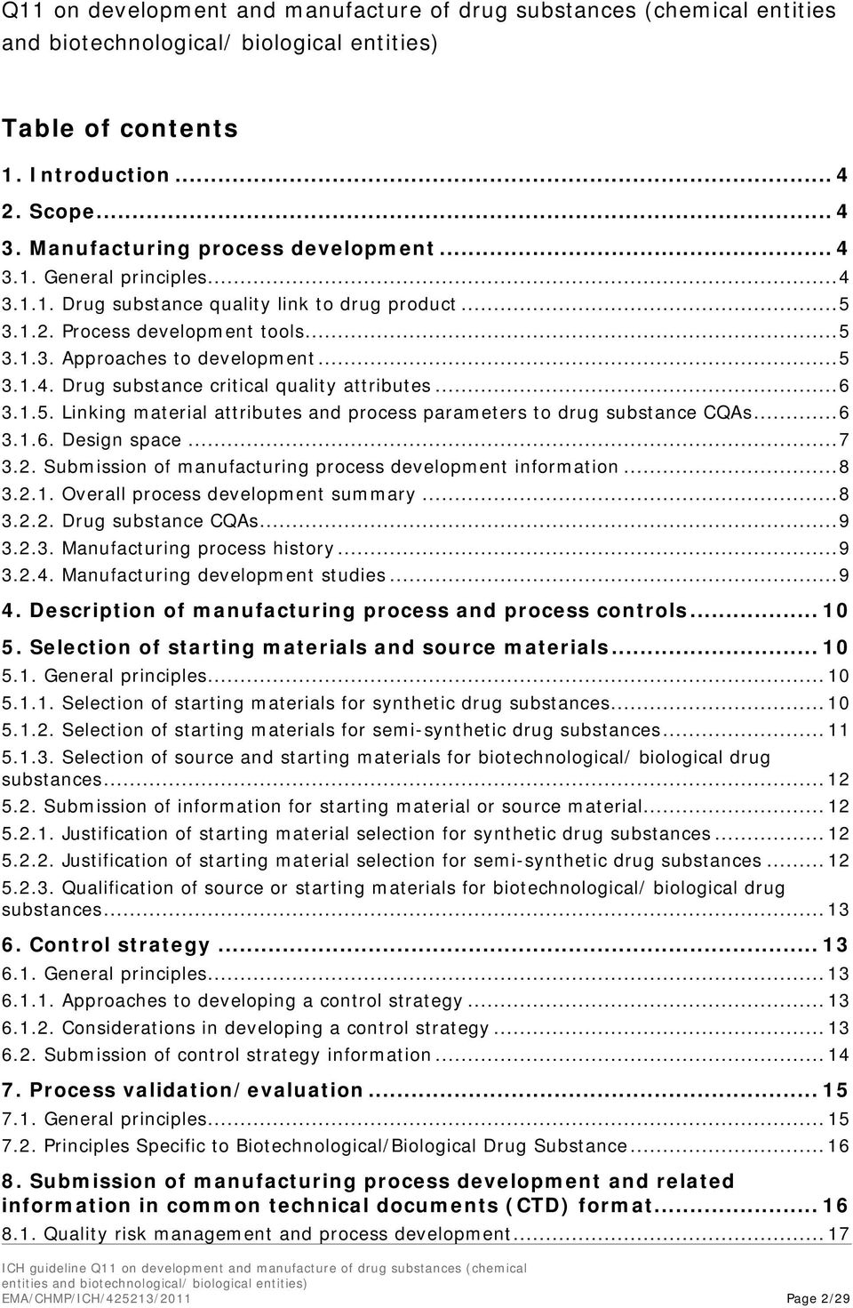 .. 6 3.1.5. Linking material attributes and process parameters to drug substance CQAs... 6 3.1.6. Design space... 7 3.2. Submission of manufacturing process development information... 8 3.2.1. Overall process development summary.