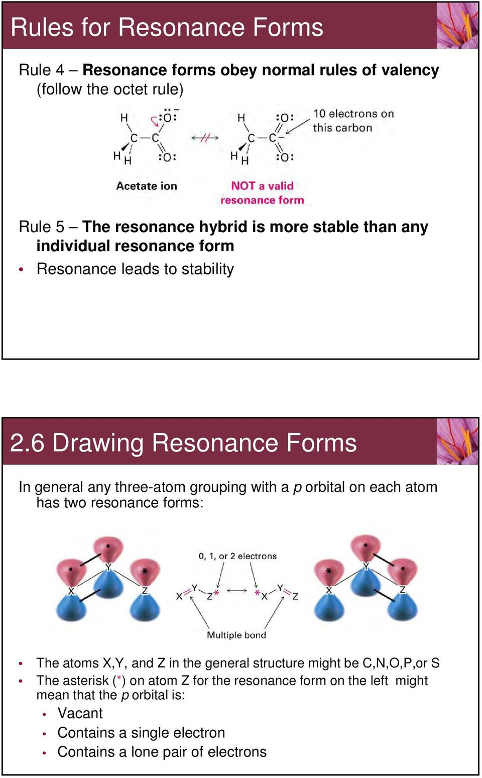 6 Drawing Resonance Forms In general any three-atom grouping with a p orbital on each atom has two resonance forms: The atoms X,Y, and Z in