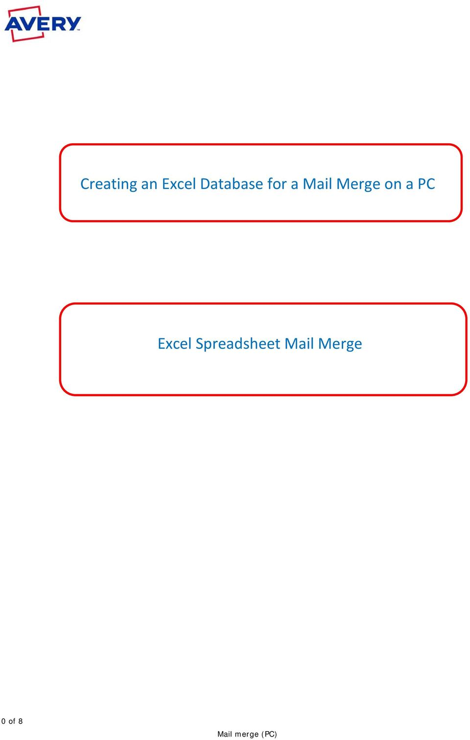 Merge on a PC Excel