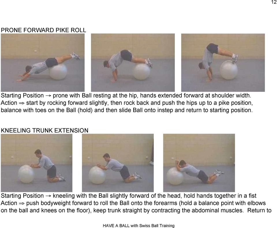 instep and return to starting position. KNEELING TRUNK EXTENSION Starting Position!