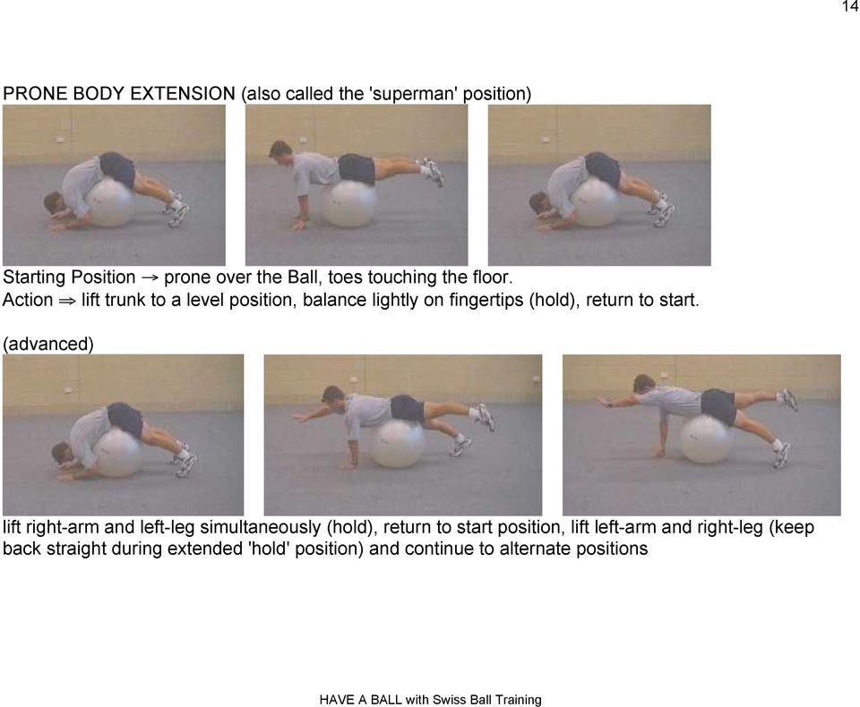 "Action "" lift trunk to a level position, balance lightly on fingertips (hold), return to start."