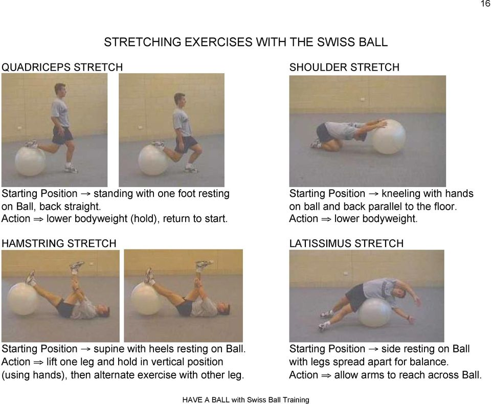 "Action "" lower bodyweight. LATISSIMUS STRETCH Starting Position! supine with heels resting on Ball."