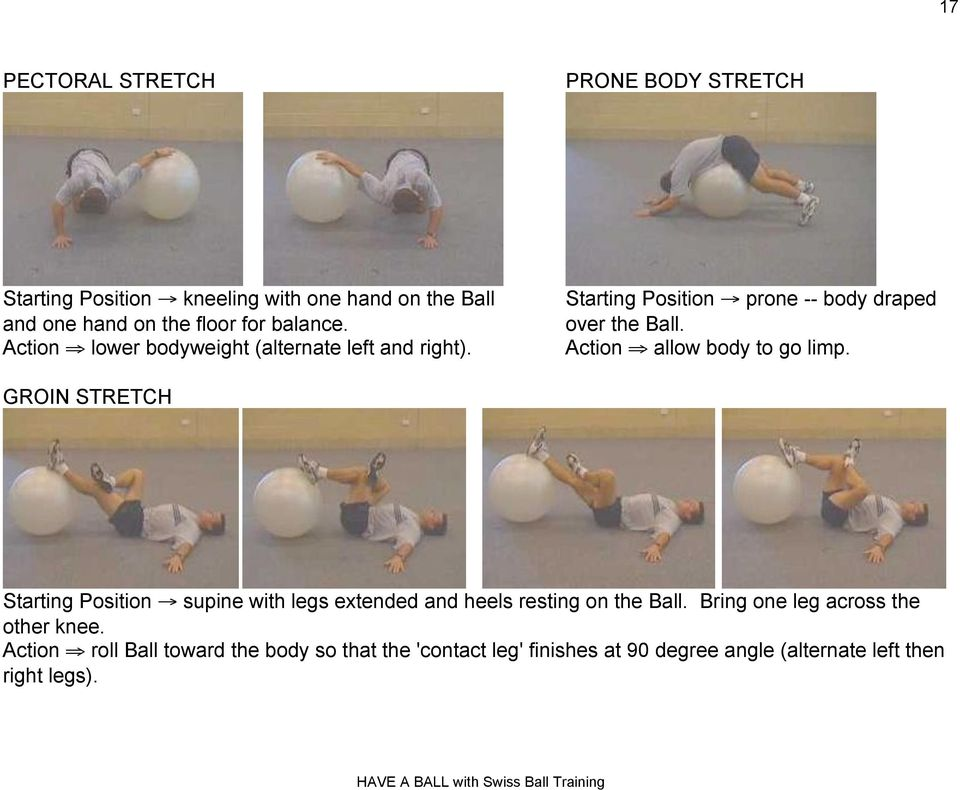 "Action "" allow body to go limp. GROIN STRETCH Starting Position! supine with legs extended and heels resting on the Ball."