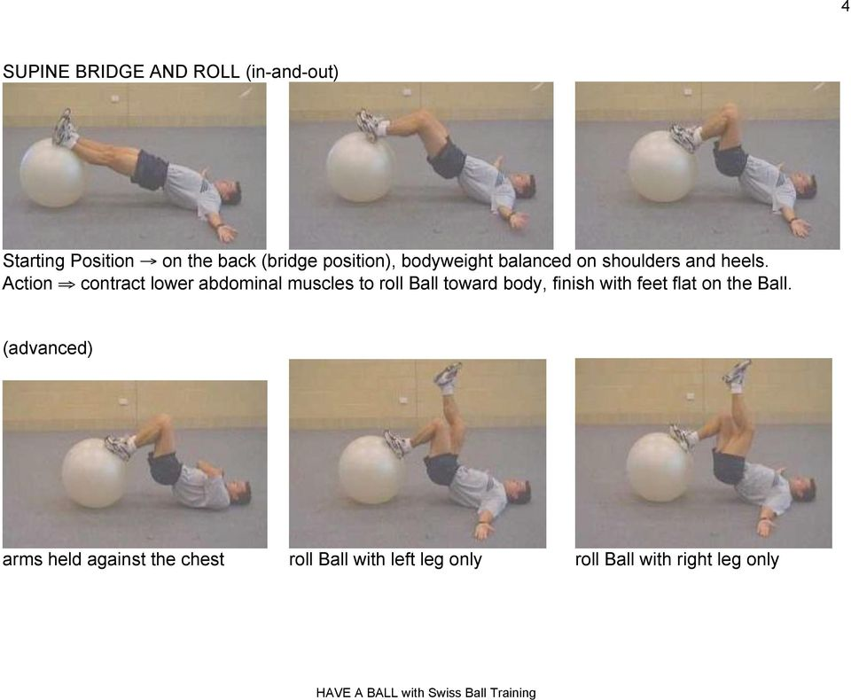 "Action "" contract lower abdominal muscles to roll Ball toward body, finish with"