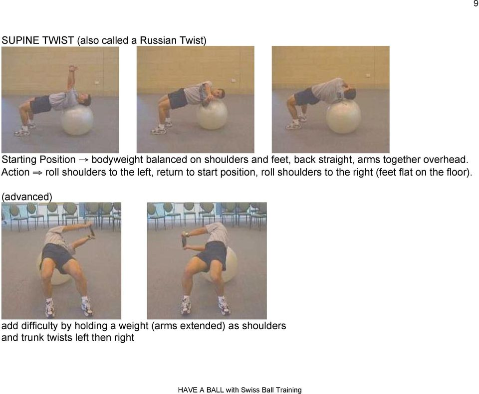 "Action "" roll shoulders to the left, return to start position, roll shoulders to the right"