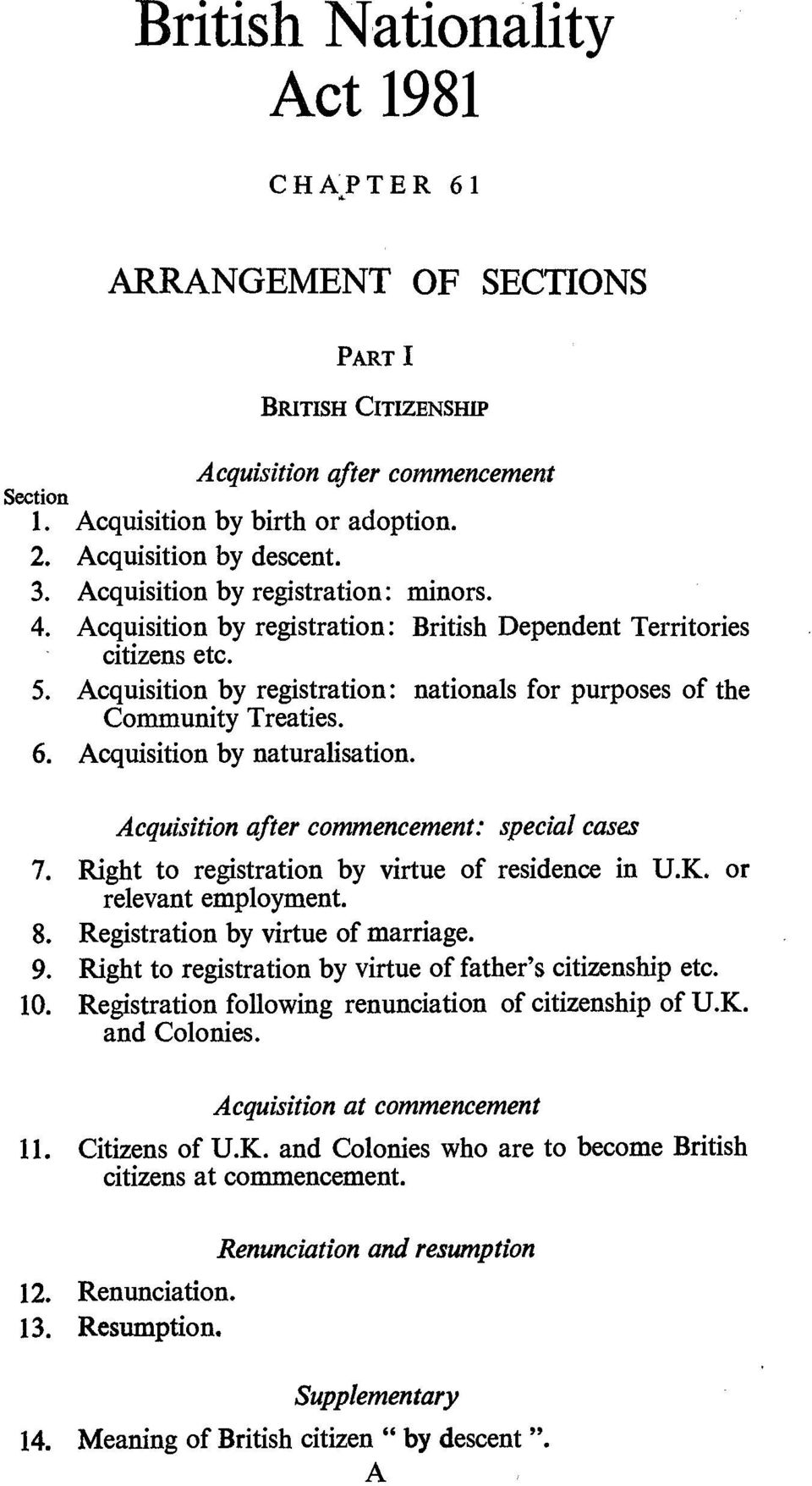 Acquisition by naturalisation. Acquisition after commencement: special cases 7. Right to registration by virtue of residence in U.K. or relevant employment. 8. Registration by virtue of marriage. 9.