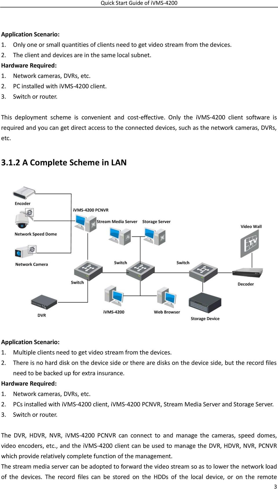 Only the ivms-4200 client software is required and you can get direct access to the connected devices, such as the network cameras, DVRs, etc. 3.1.2 A Complete Scheme in LAN Application Scenario: 1.