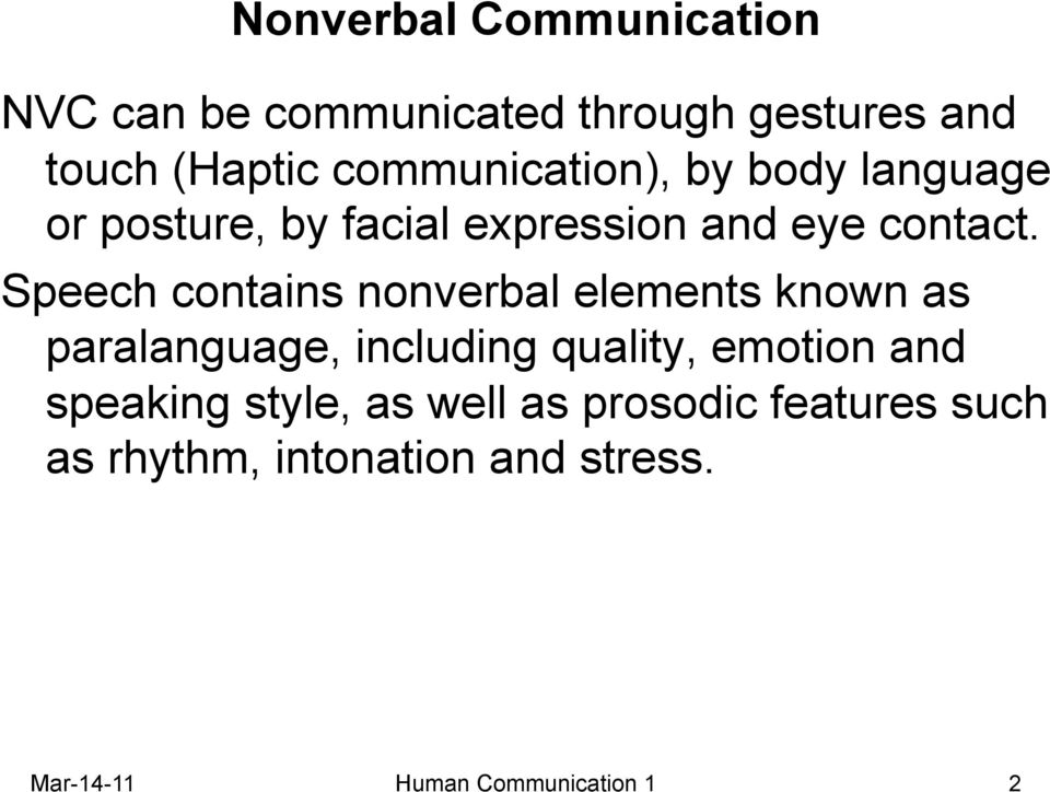 what is non verbal communication pdf