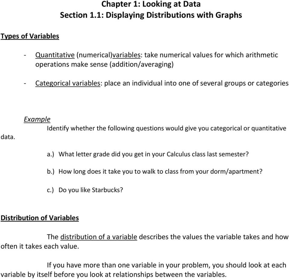 individual into one of several groups or categories data. Example Identify whether the following questions would give you categorical or quantitative a.