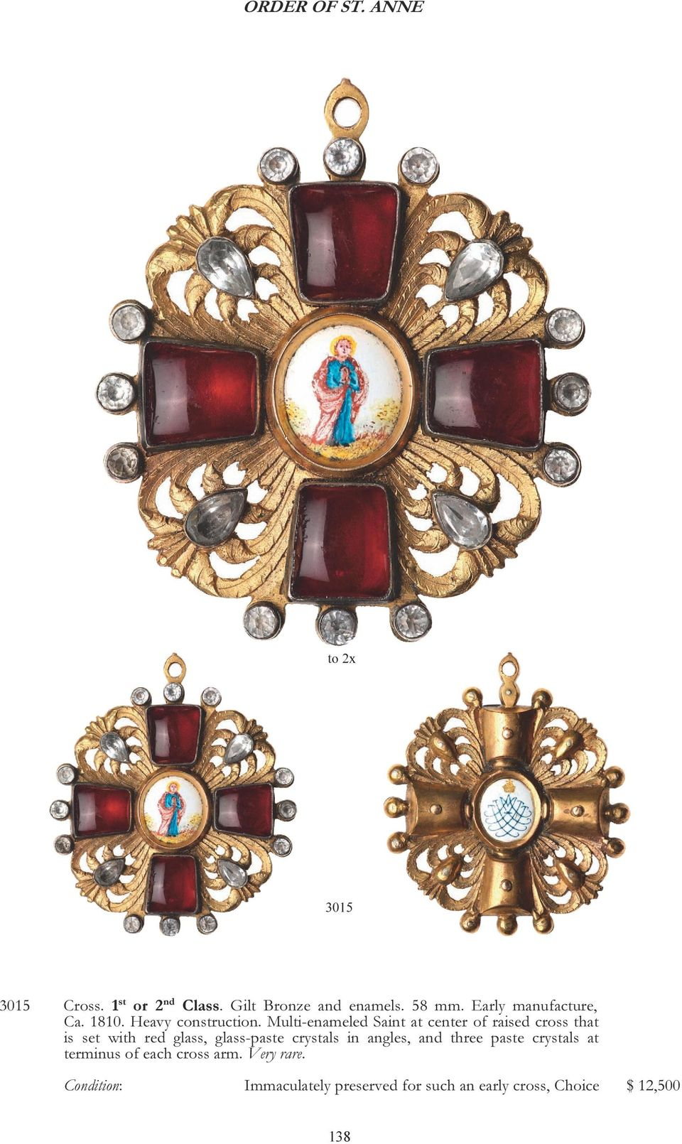 Multi-enameled Saint at center of raised cross that is set with red glass, glass-paste crystals in