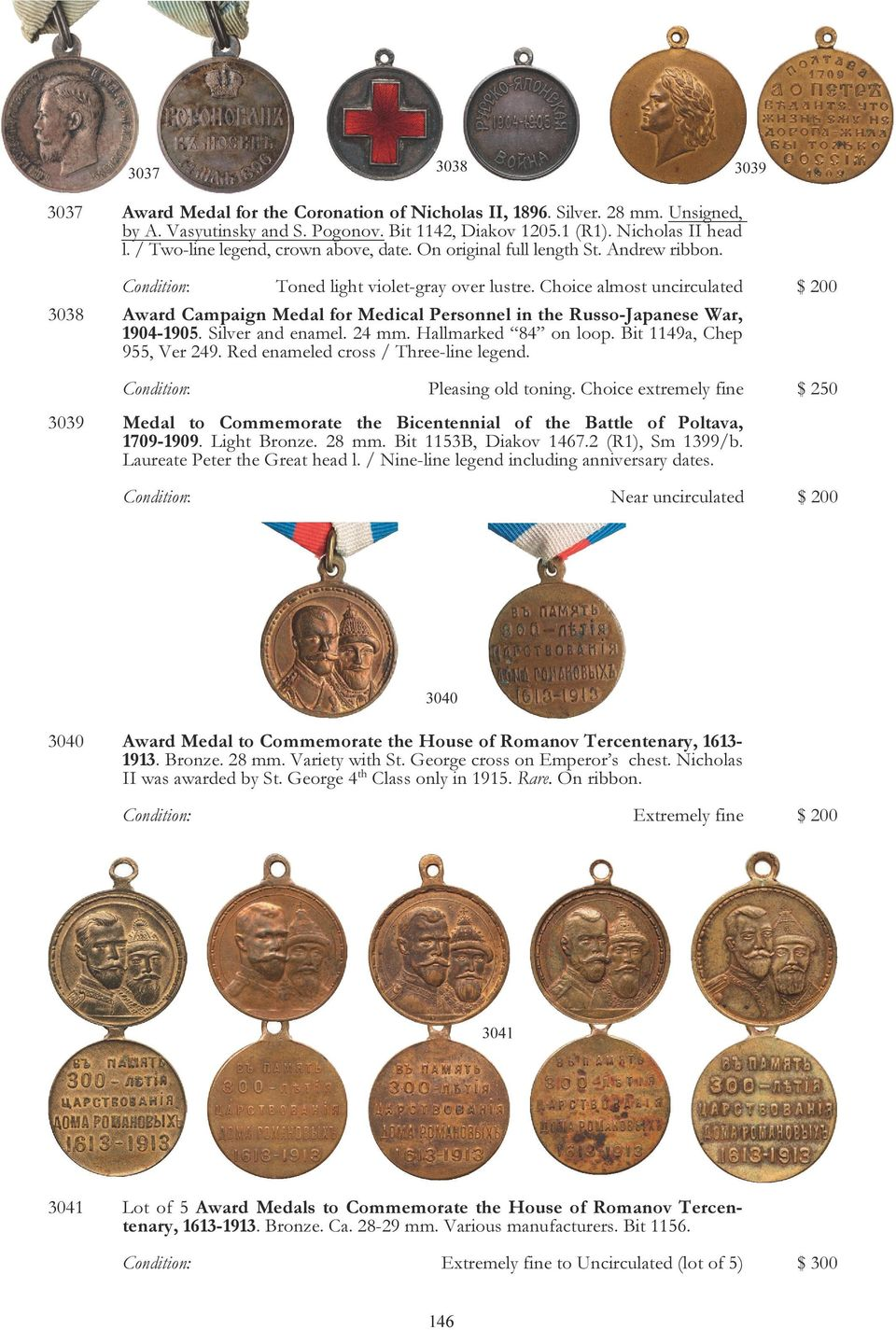 Choice almost uncirculated $ 200 3038 Award Campaign Medal for Medical Personnel in the Russo-Japanese War, 1904-1905. Silver and enamel. 24 mm. Hallmarked 84 on loop. Bit 1149a, Chep 955, Ver 249.