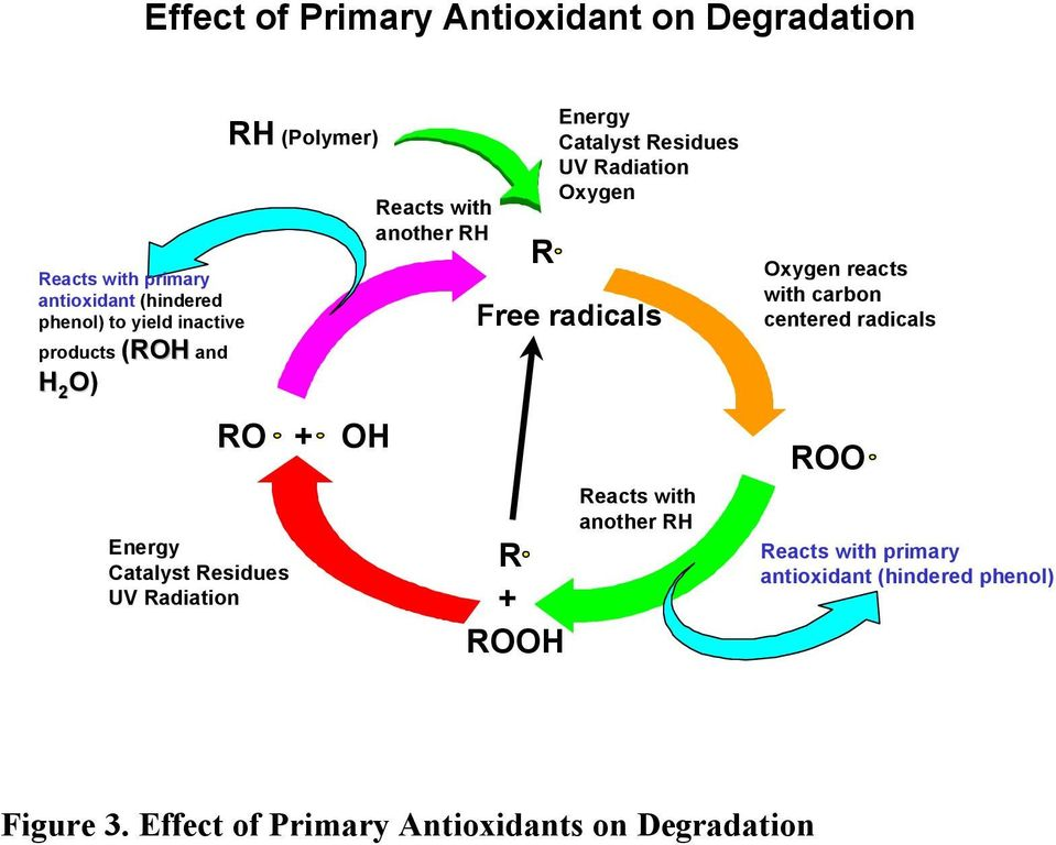radicals R + ROOH Energy Catalyst Residues UV Radiation Oxygen Reacts with another RH Oxygen reacts with carbon