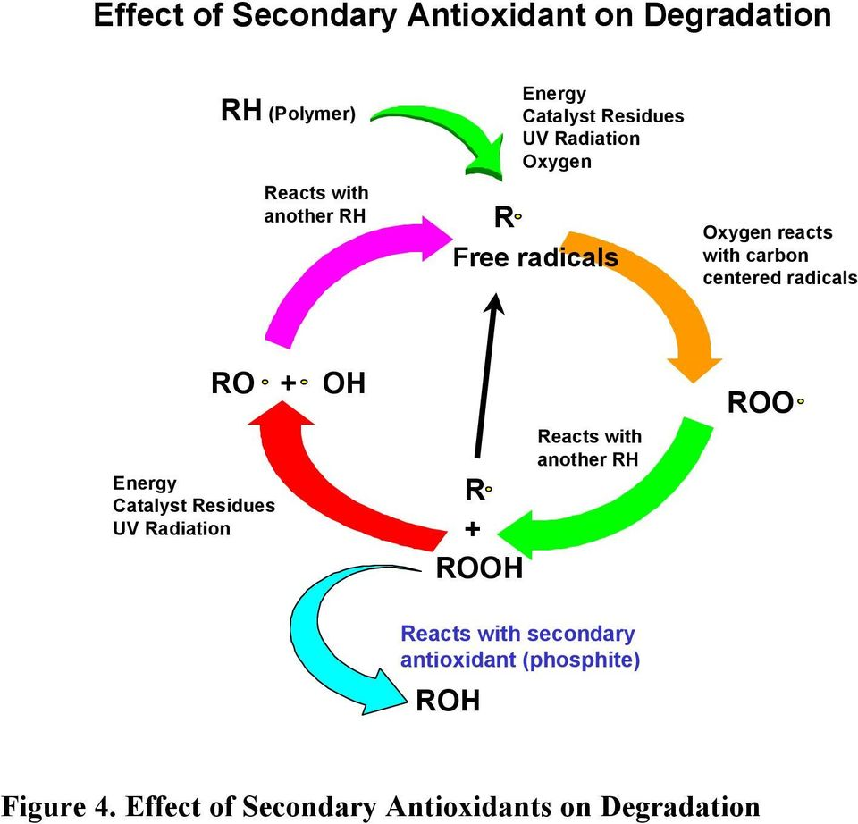 radicals Energy Catalyst Residues UV Radiation RO + OH R + ROOH Reacts with secondary