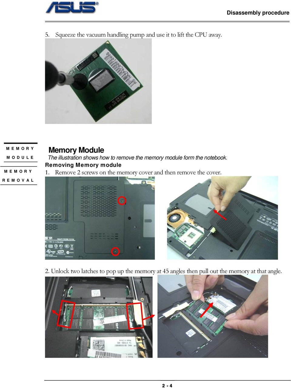 module form the notebook. Removing Memory module 1.