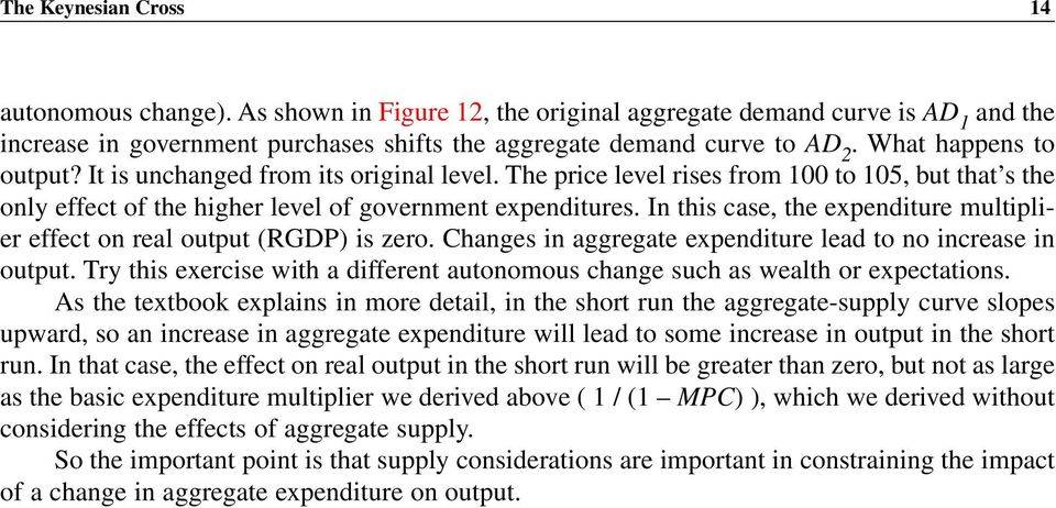 In this case, the expenditure multiplier effect on real output (RGDP) is zero. Changes in aggregate expenditure lead to no increase in output.